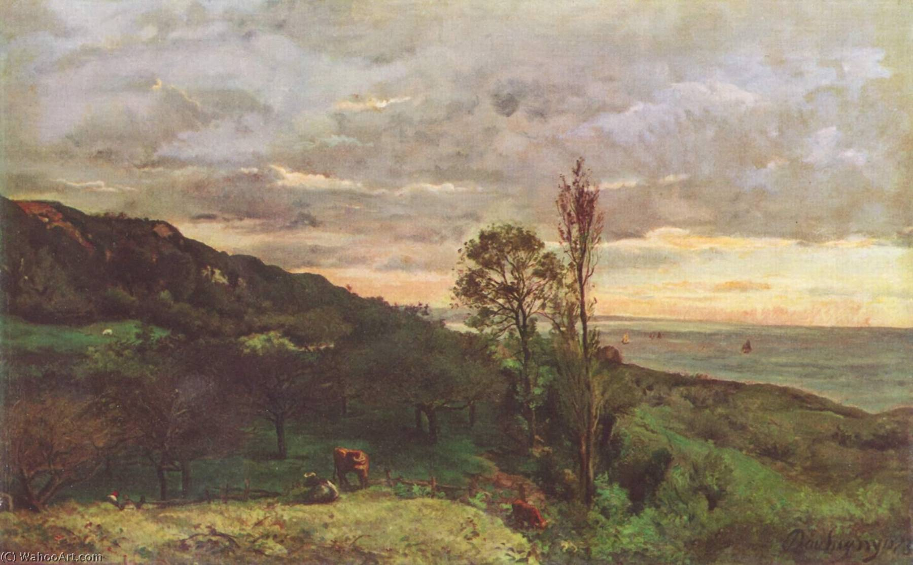 Landscape near Villerville, Oil On Canvas by Charles François Daubigny (1817-1878, France)