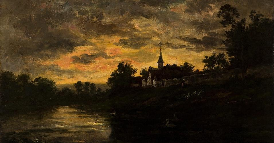 Français Bords de L'Oise, Oil On Canvas by Charles François Daubigny (1817-1878, France)