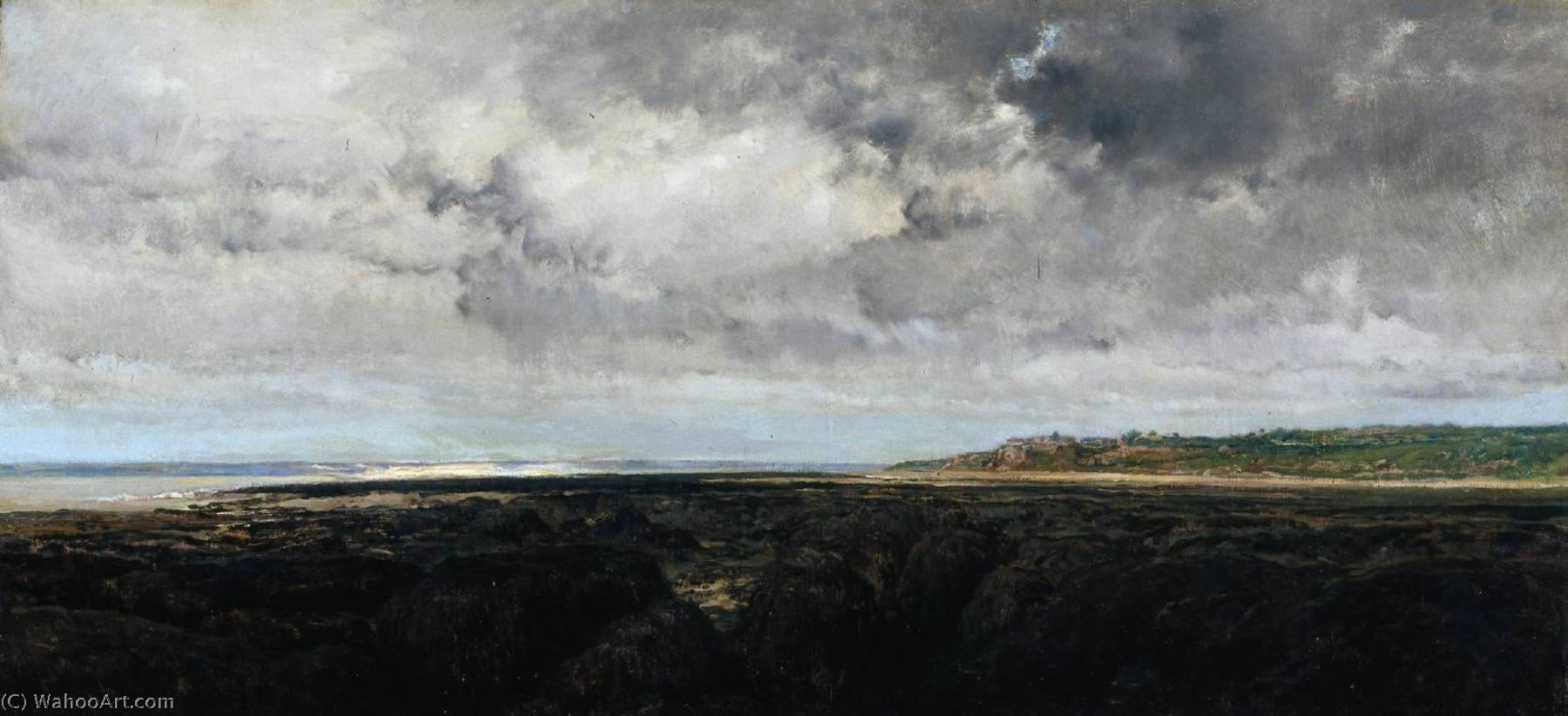 Villerville Seen from Le Ratier, Oil by Charles François Daubigny (1817-1878, France)