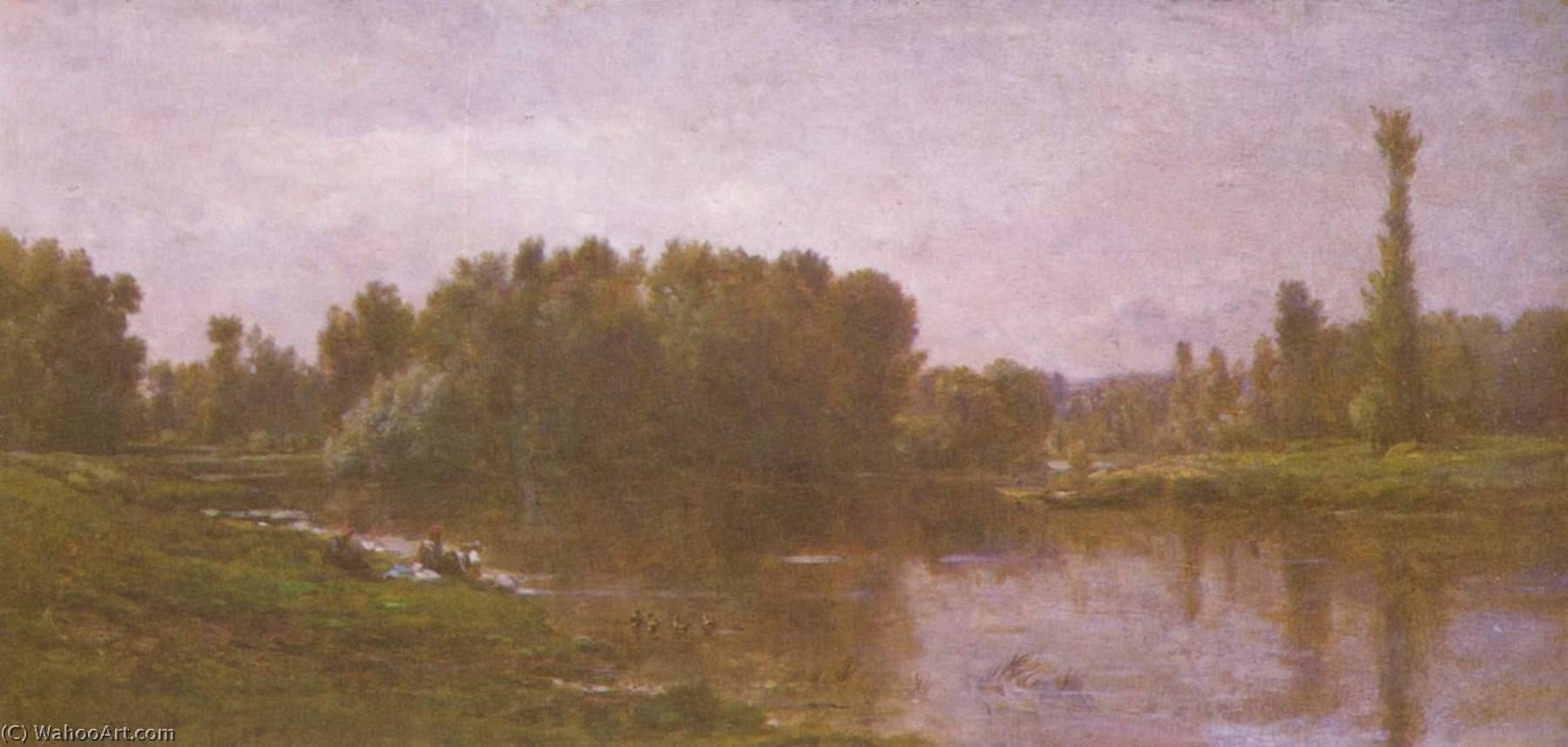 The banks of the Oise, Oil On Canvas by Charles François Daubigny (1817-1878, France)