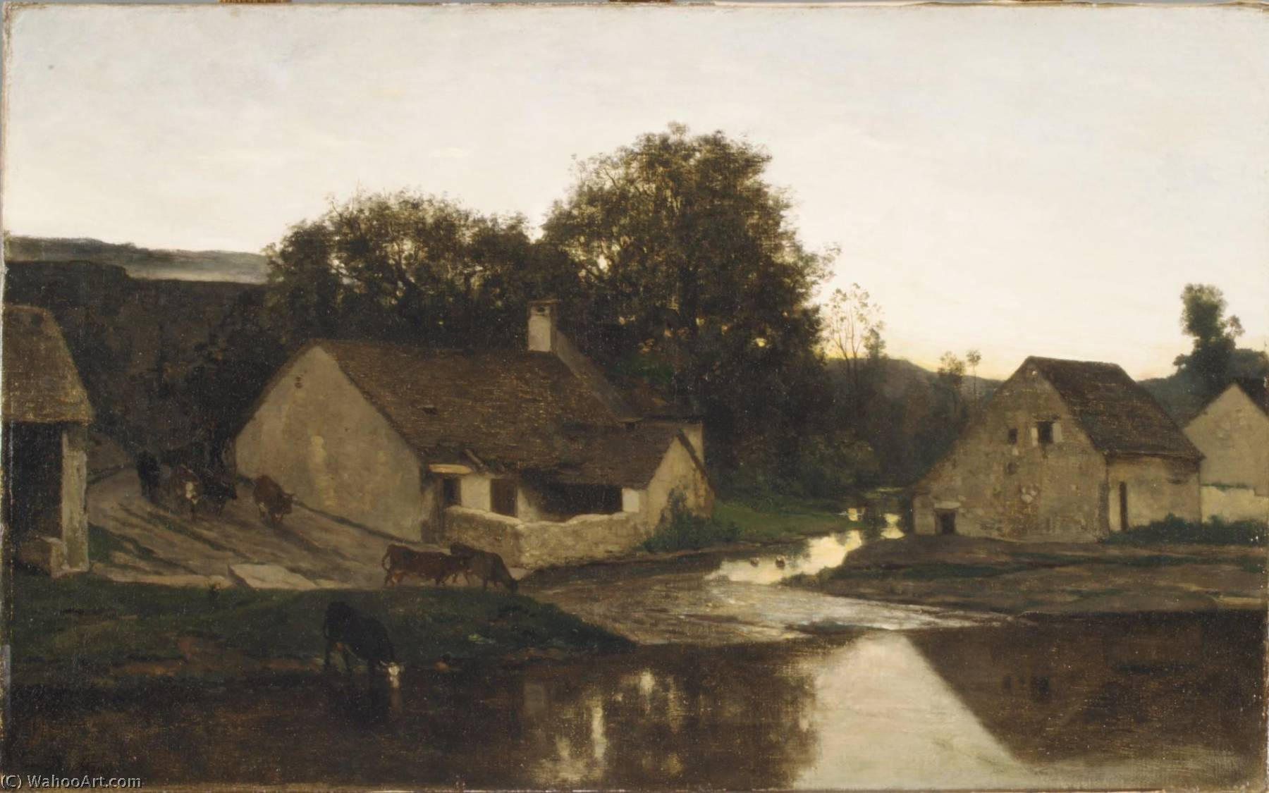The Hamlet of Optevoz, Oil On Canvas by Charles François Daubigny (1817-1878, France)