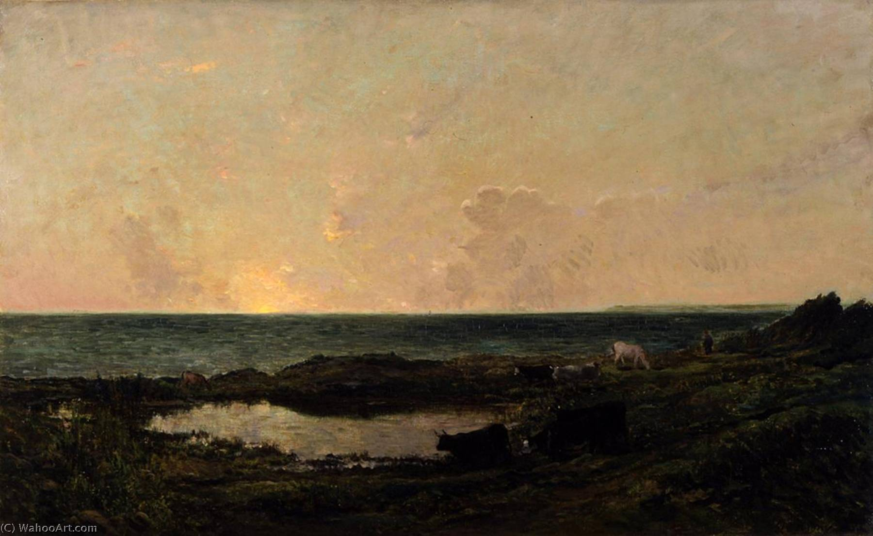 Sunset on the Coast at Villerville, Oil On Canvas by Charles François Daubigny (1817-1878, France)