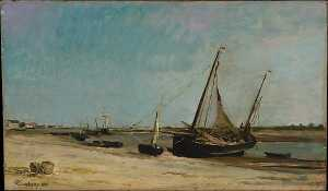 Charles François Daubigny - Boats on the Seacoast at Étaples