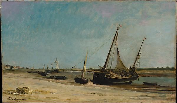 Boats on the Seacoast at Étaples, Oil by Charles François Daubigny (1817-1878, France)