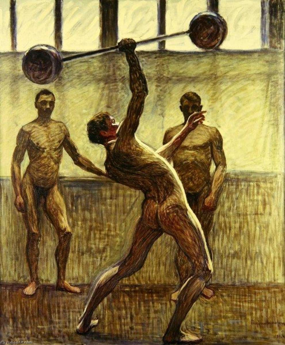 Lifting Weights with One Arm, 1914 by Eugene Jansson (1862-1915) | Art Reproduction | WahooArt.com