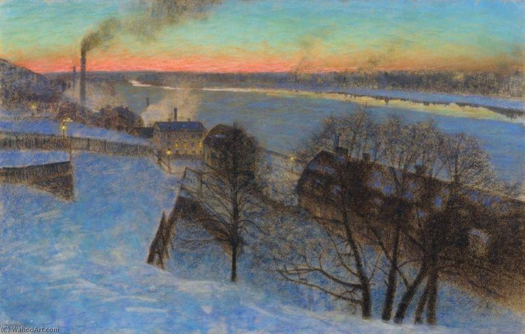 Evening in February, Riddarfjärden, Stockholm, 1893 by Eugene Jansson (1862-1915) | Oil Painting | WahooArt.com