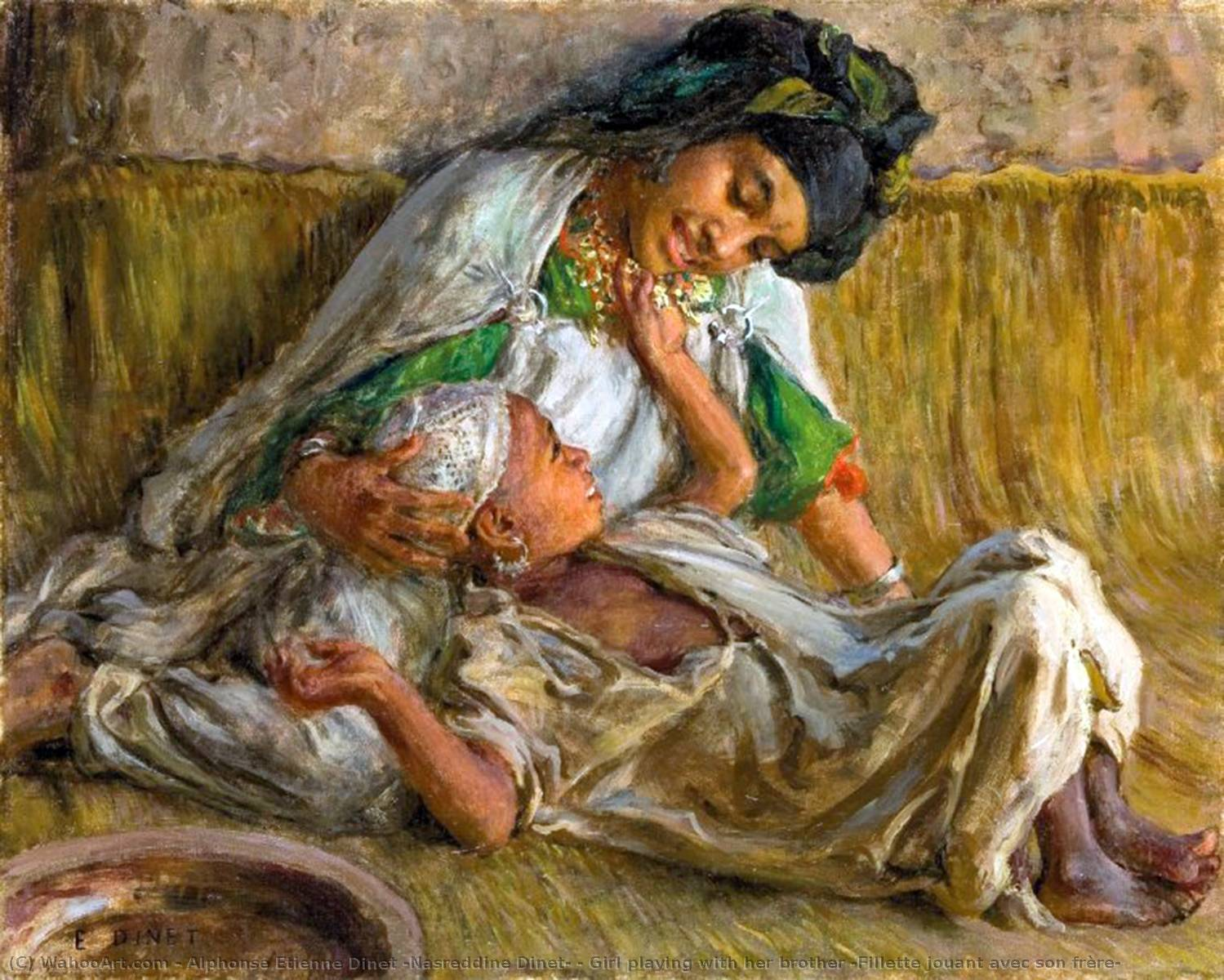 Girl playing with her brother (Fillette jouant avec son frère) by Alphonse Etienne Dinet (Nasreddine Dinet) (1861-1929) | Reproductions Alphonse Etienne Dinet (Nasreddine Dinet) | WahooArt.com