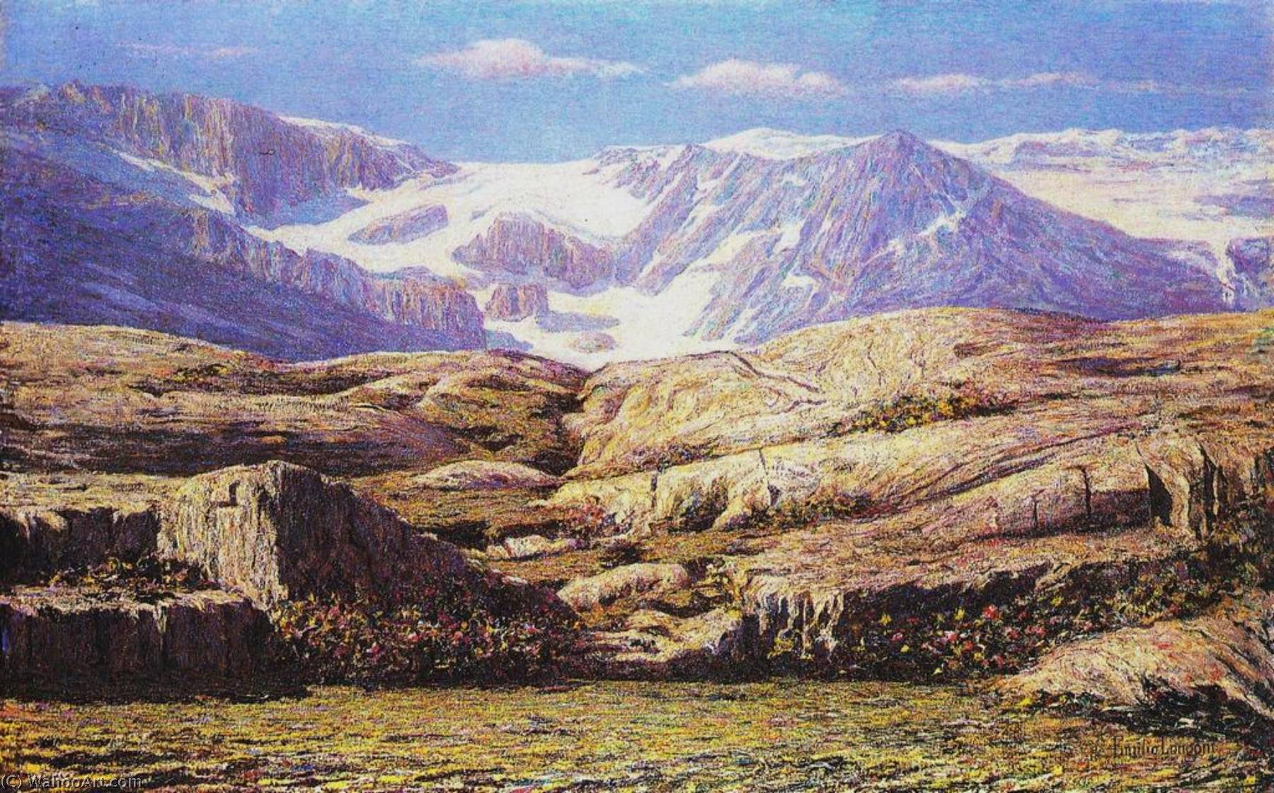 Glacier in the Sunlight, Oil On Canvas by Emilio Longoni (1859-1932)