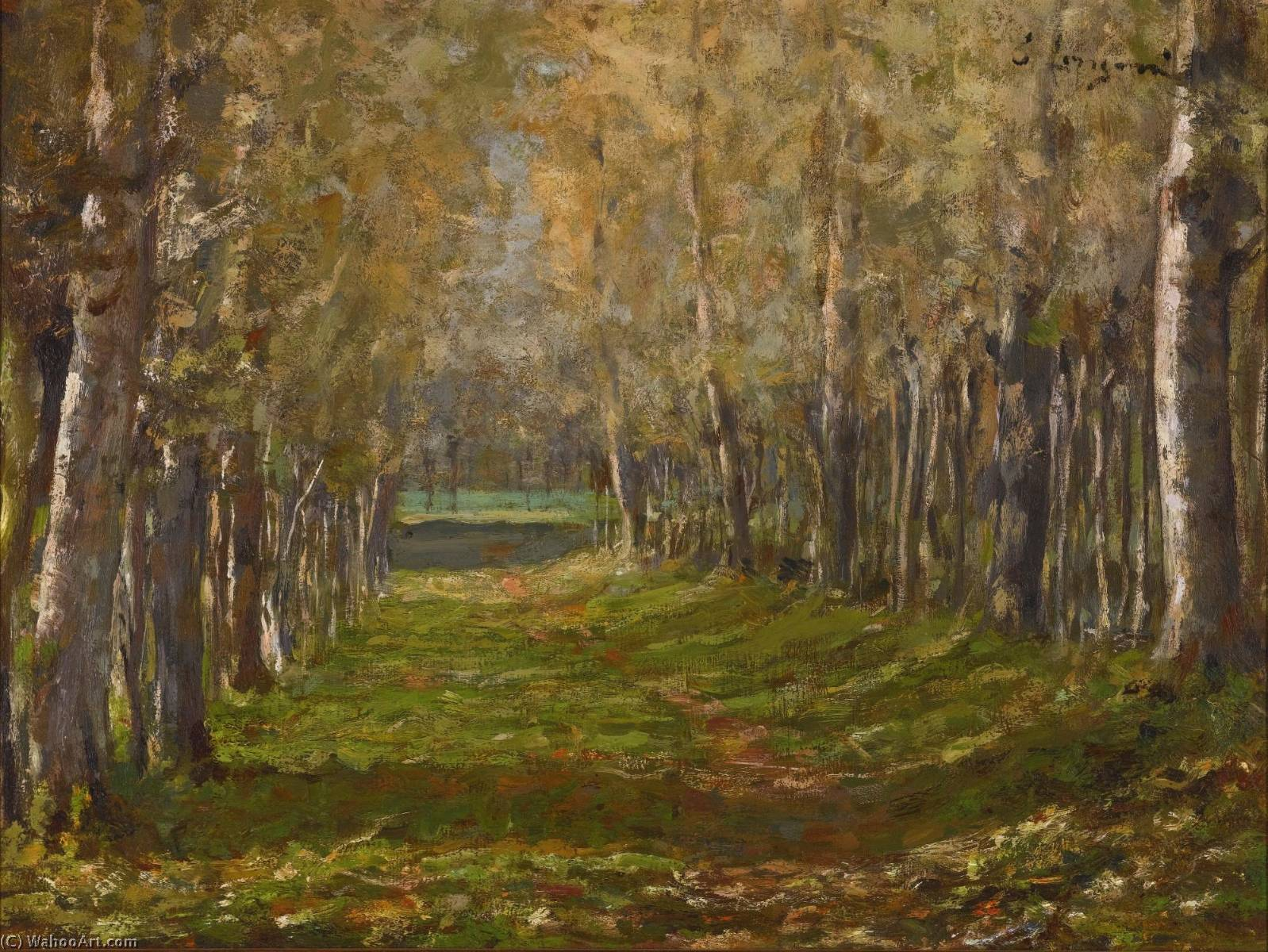 A Forest Path by Emilio Longoni (1859-1932) | Famous Paintings Reproductions | WahooArt.com