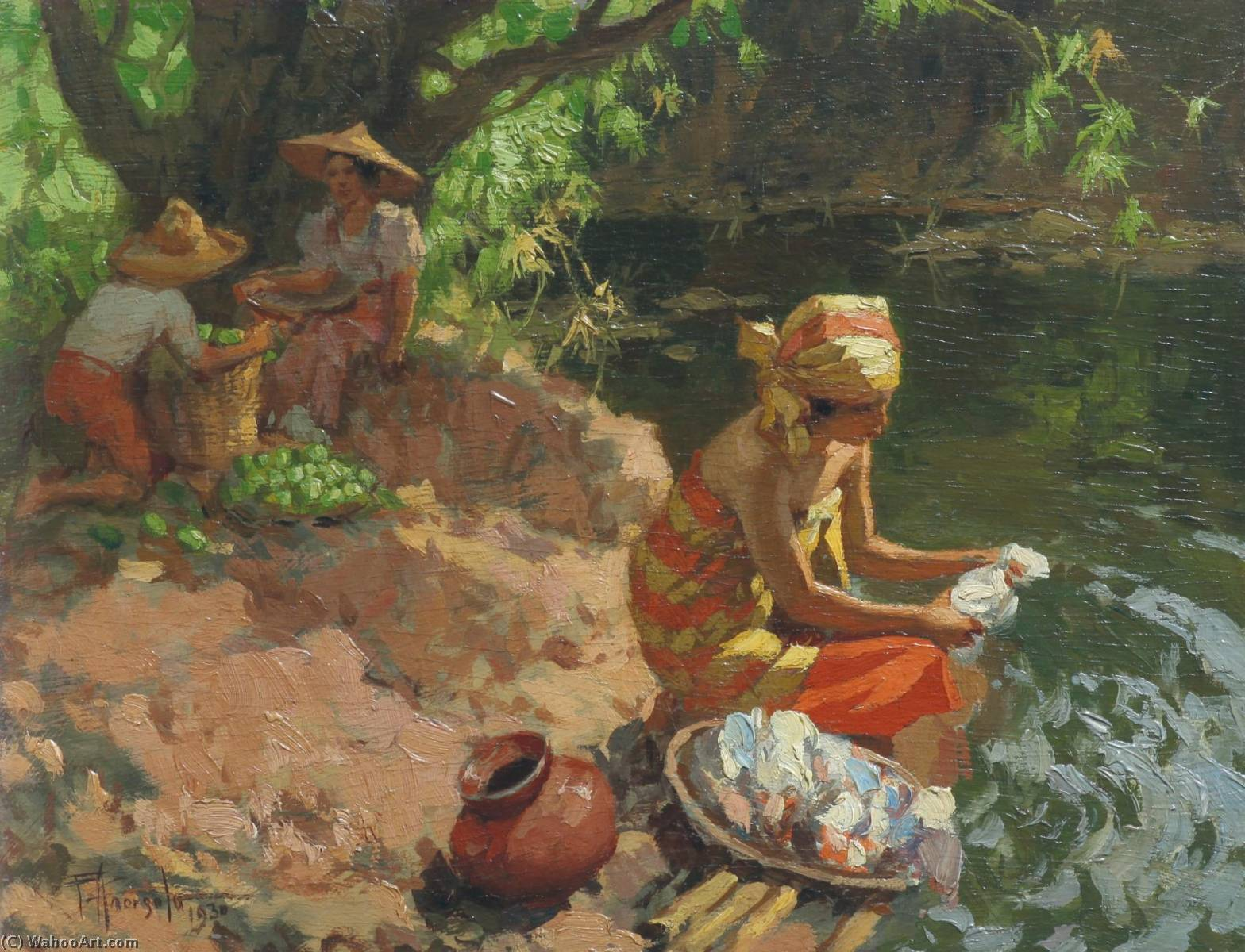 Washing By The River, Oil by Fernando Cueto Amorsolo (1892-1972, Philippines)