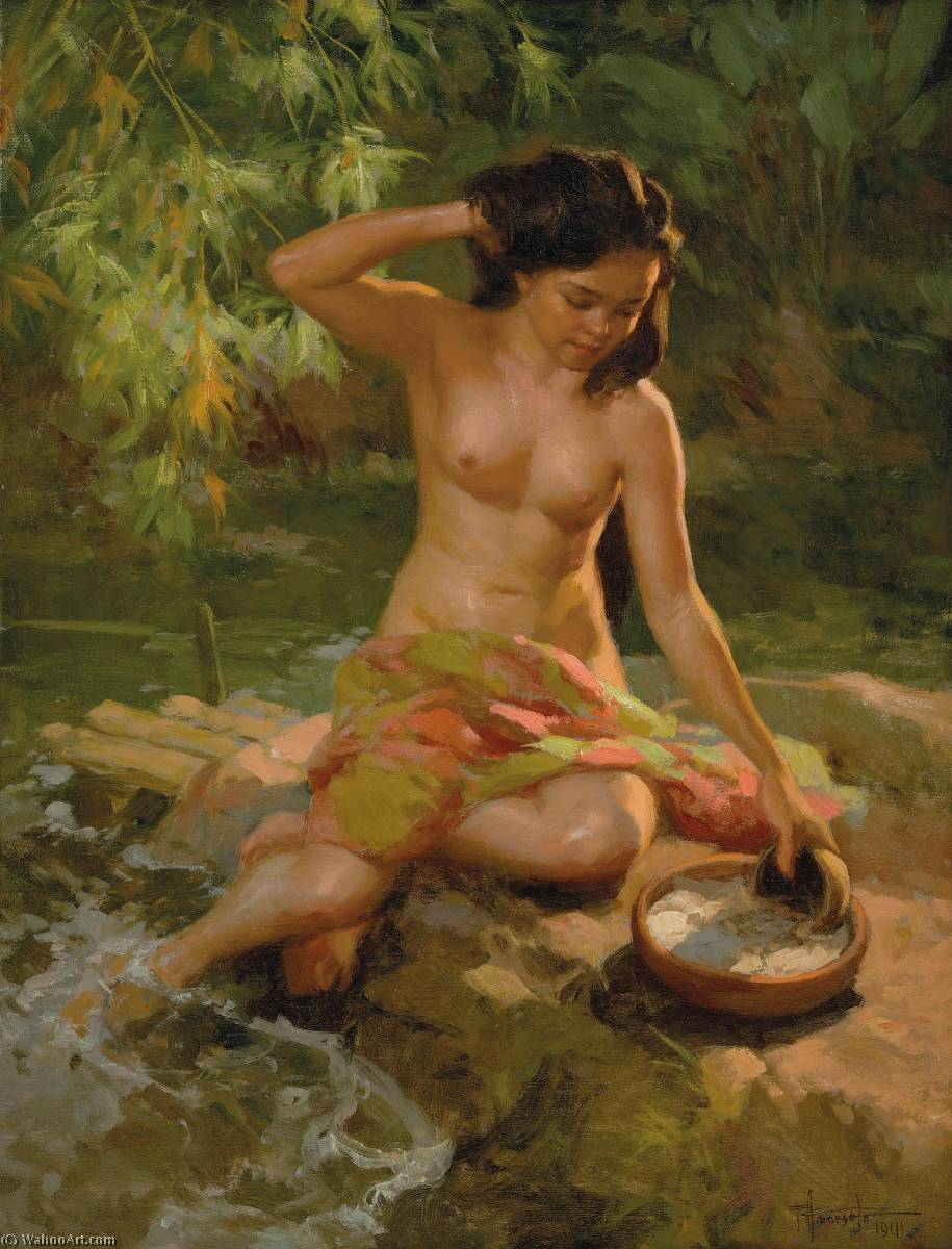 Bathing by the River, Oil On Canvas by Fernando Cueto Amorsolo (1892-1972, Philippines)