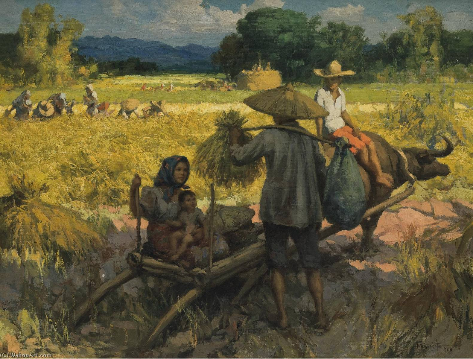 Harvesting, Oil On Canvas by Fernando Cueto Amorsolo (1892-1972, Philippines)