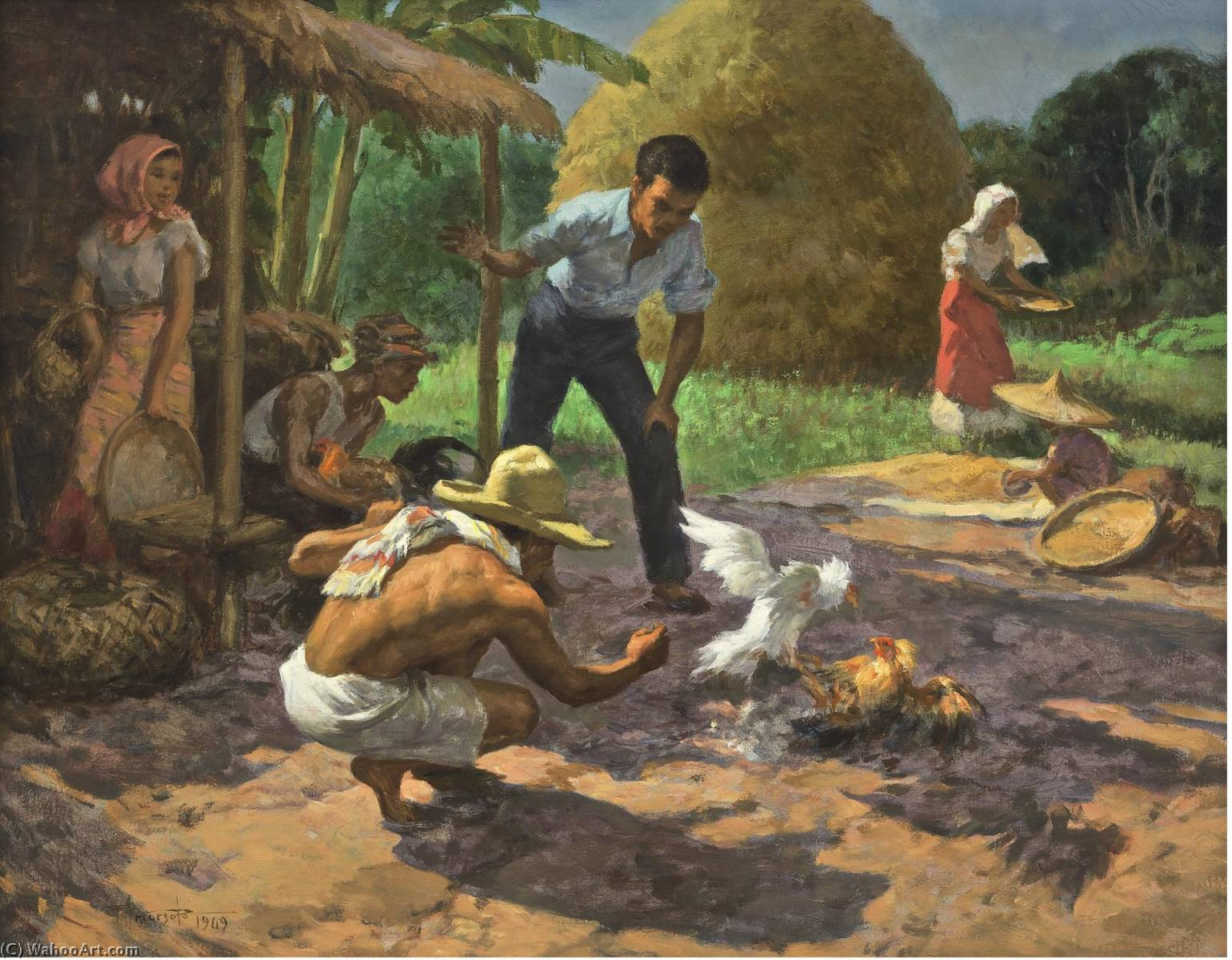 Sabong (Cockfighting), Oil On Canvas by Fernando Cueto Amorsolo (1892-1972, Philippines)