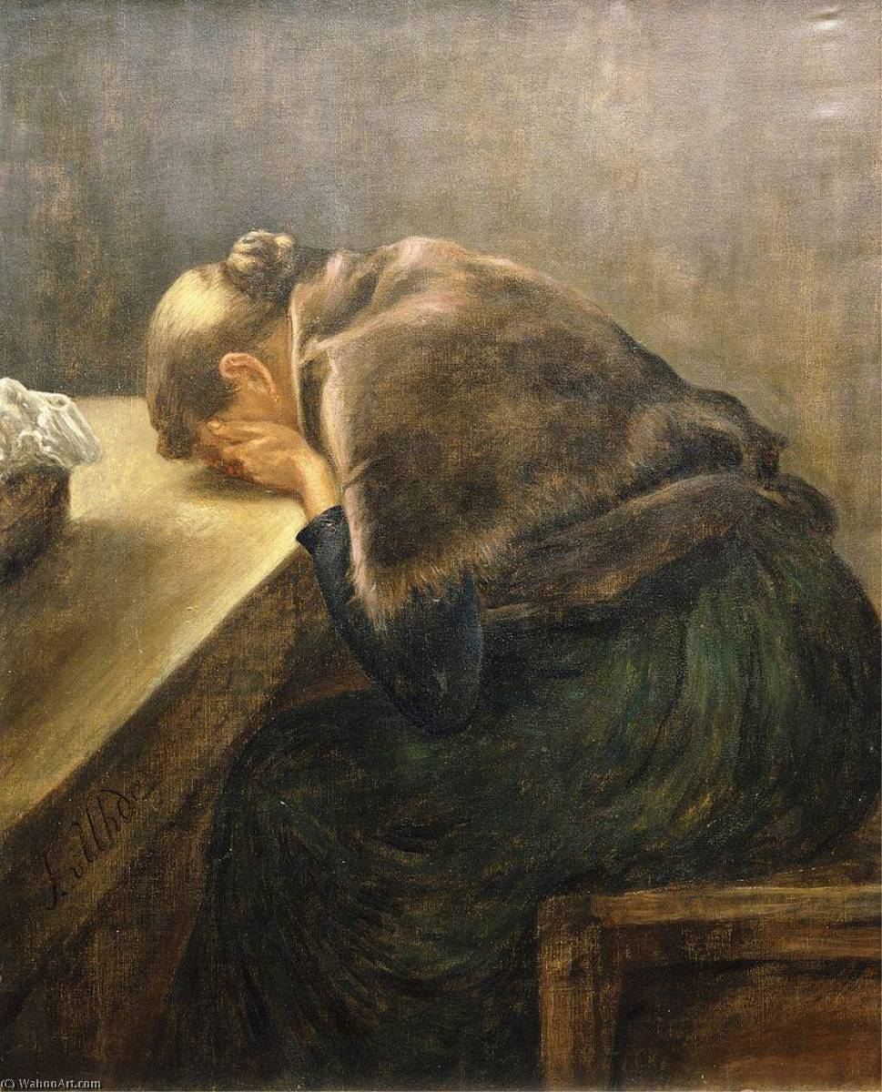 Mourning, Oil On Canvas by Fritz Von Uhde (1848-1911)
