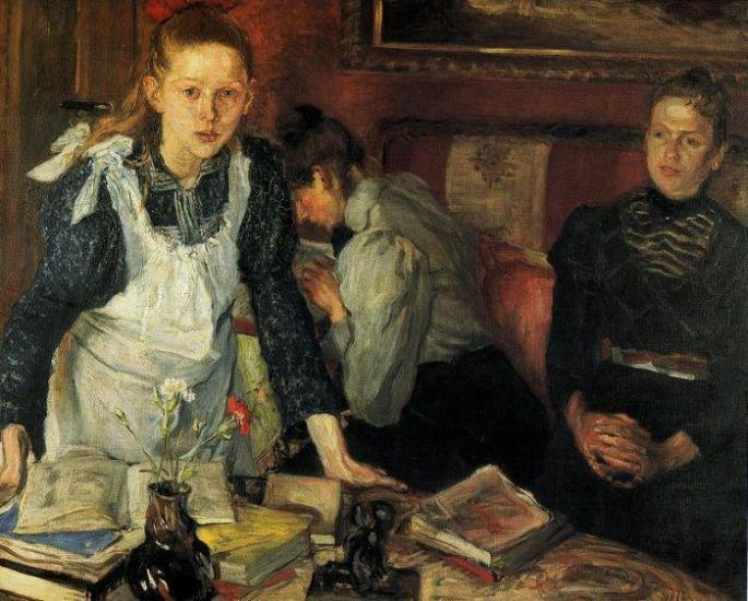 The Lesson, Oil On Canvas by Fritz Von Uhde (1848-1911)