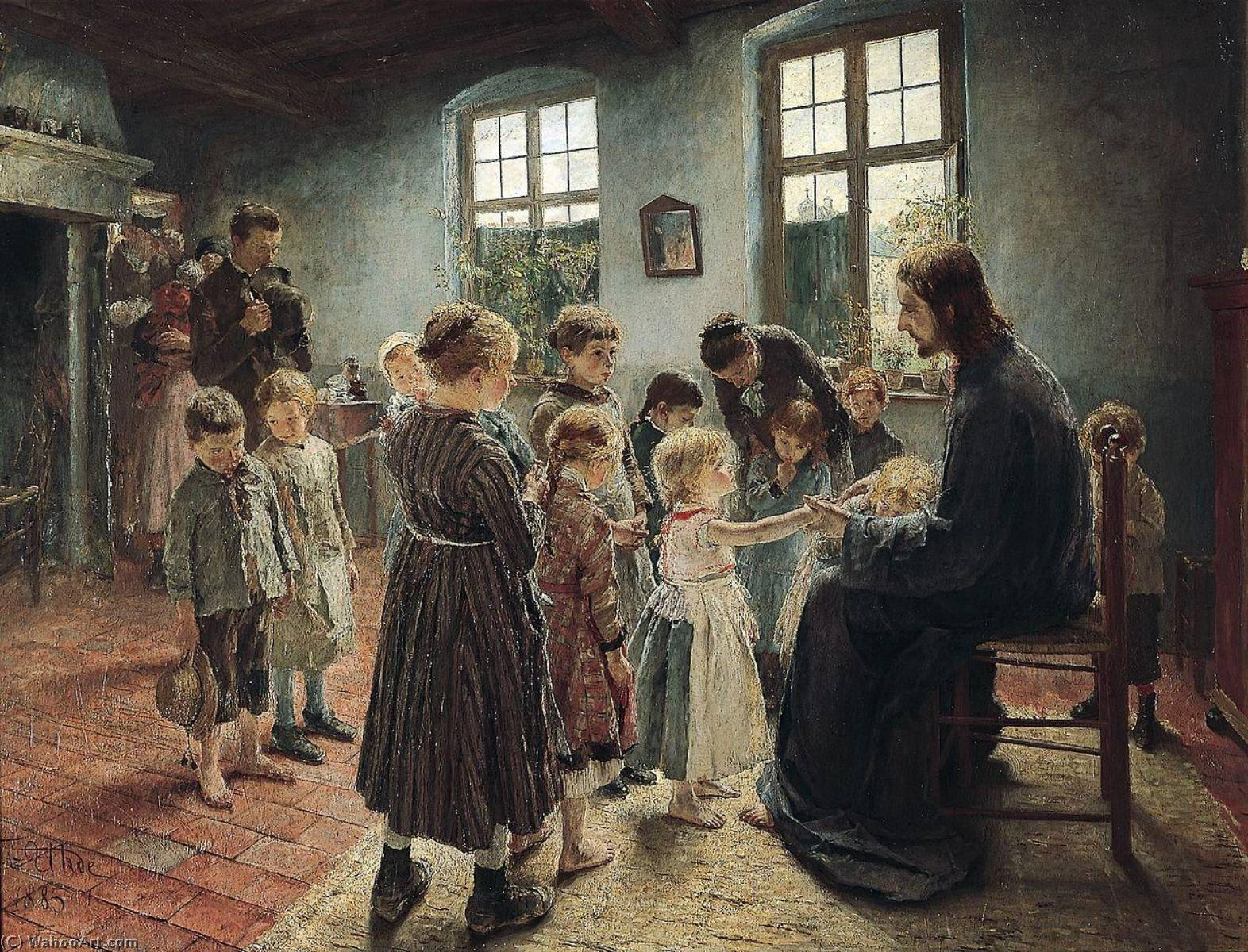 Let the Children Come, Oil On Canvas by Fritz Von Uhde (1848-1911)