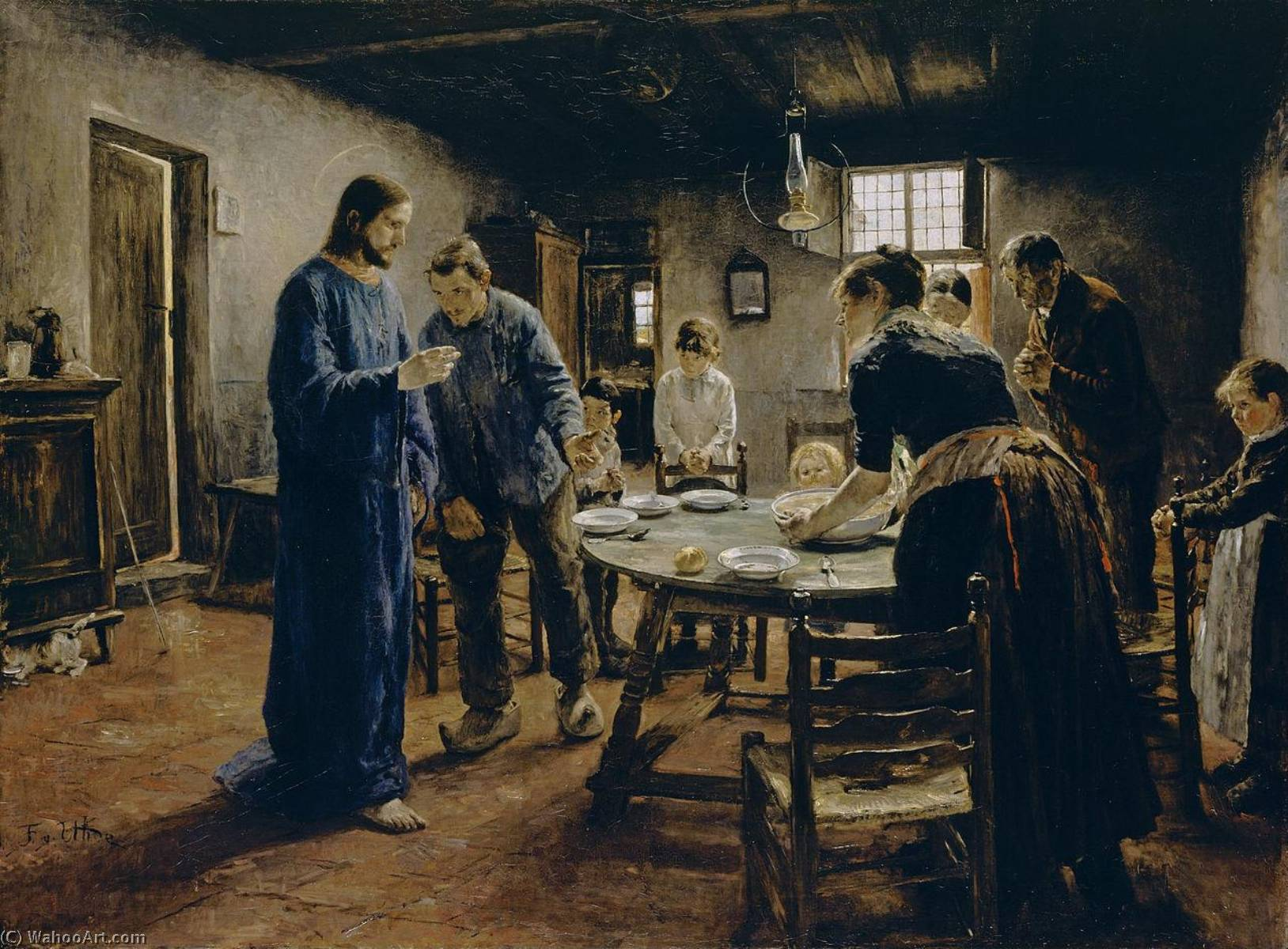 The Mealtime Prayer, Oil On Canvas by Fritz Von Uhde (1848-1911)