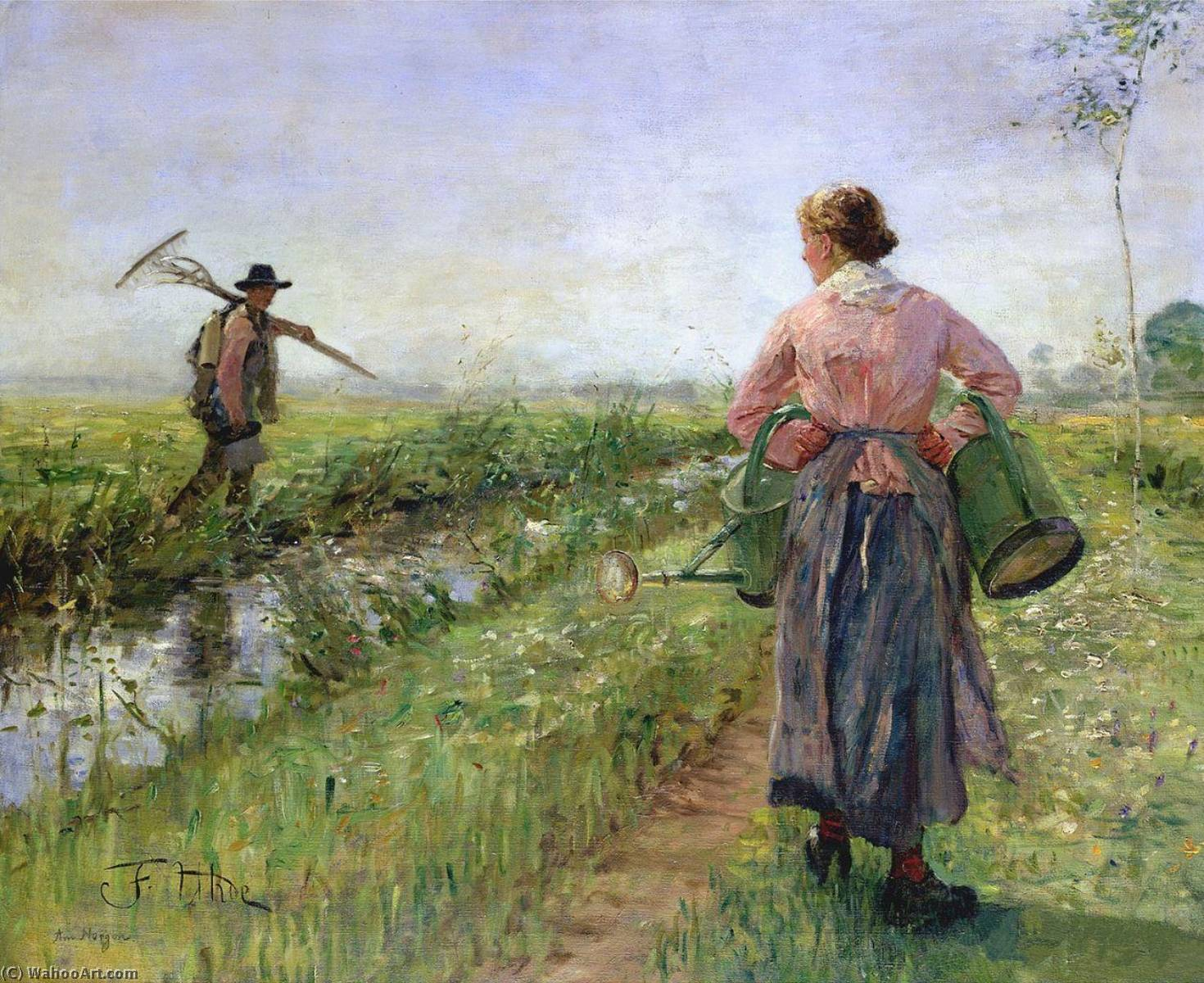 In the Morning, 1889 by Fritz Von Uhde (1848-1911) | Oil Painting | WahooArt.com