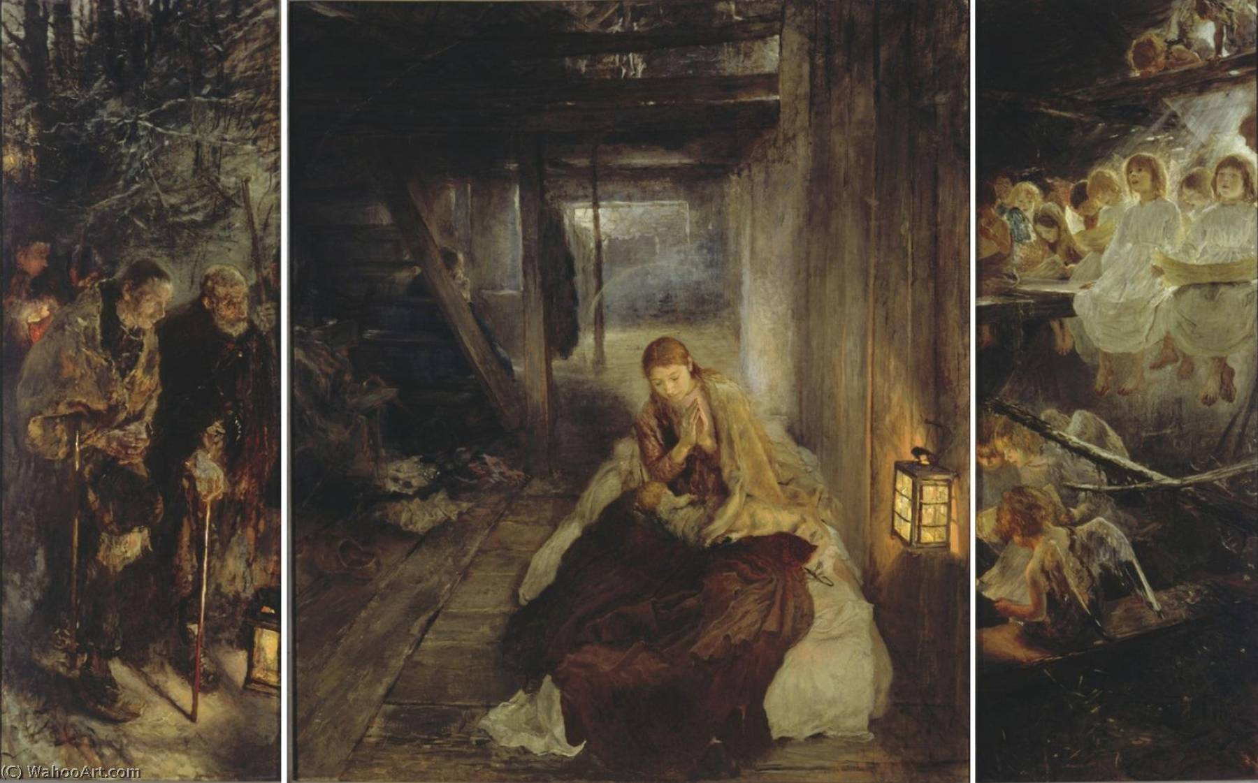 The Holy Night (Triptych), Oil On Canvas by Fritz Von Uhde (1848-1911)