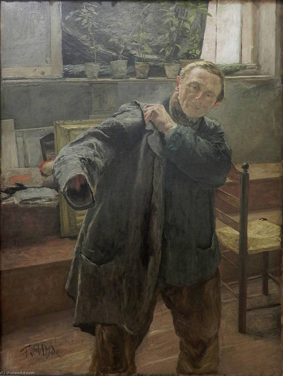Man Dressing, 1885 by Fritz Von Uhde (1848-1911) | Oil Painting | WahooArt.com