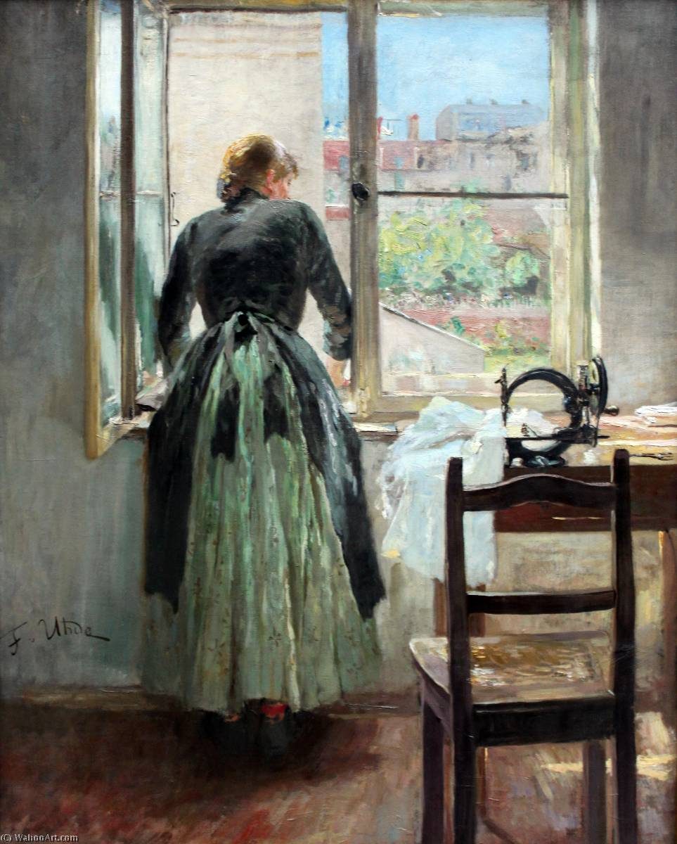 At the Window (sempstress at the window), Oil On Canvas by Fritz Von Uhde (1848-1911)