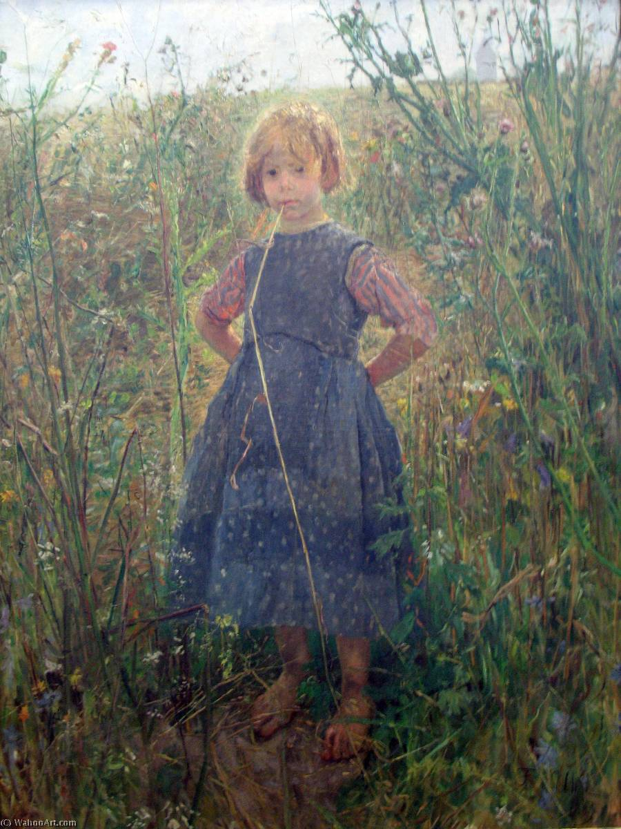 Little Princess on the heath, 1889 by Fritz Von Uhde (1848-1911) | Oil Painting | WahooArt.com