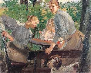Fritz Von Uhde - The Daughters of the artist in the garden