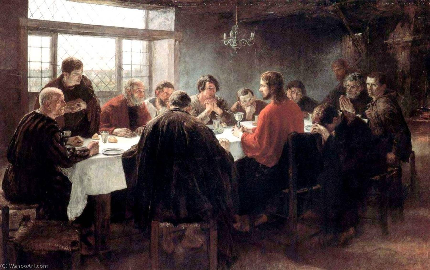 The Last Supper, Oil On Canvas by Fritz Von Uhde (1848-1911)