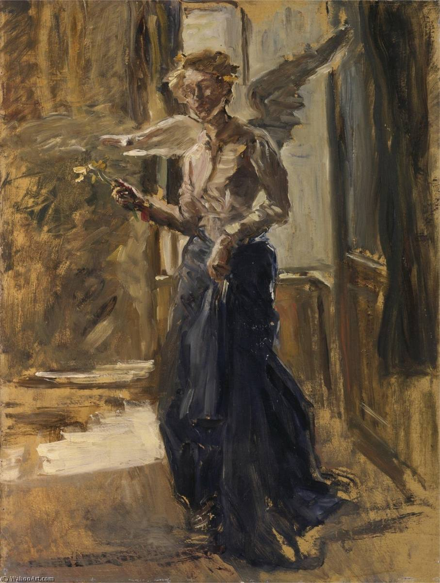 Angel, Oil by Fritz Von Uhde (1848-1911)