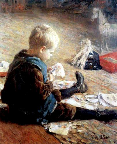 Boy playing, 1890 by Fritz Von Uhde (1848-1911) | Famous Paintings Reproductions | WahooArt.com