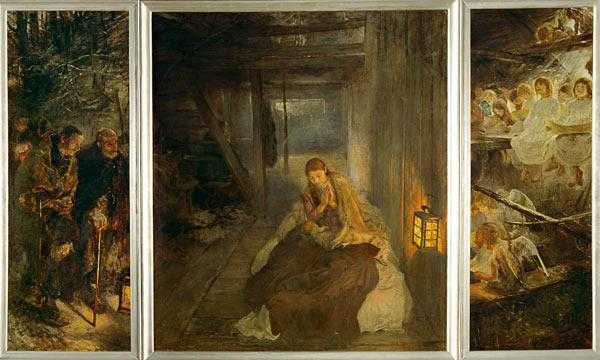 The Sacred Night (Triptych), Oil On Canvas by Fritz Von Uhde (1848-1911)