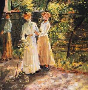 Fritz Von Uhde - The three daughters of the artist in the garden