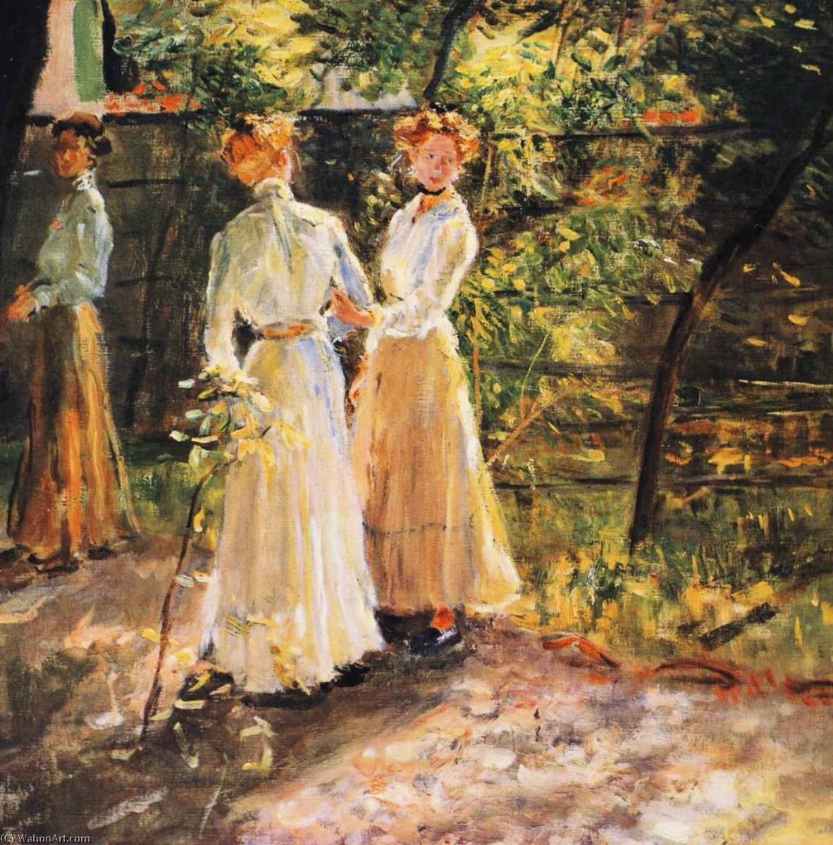 The three daughters of the artist in the garden, Oil On Canvas by Fritz Von Uhde (1848-1911)
