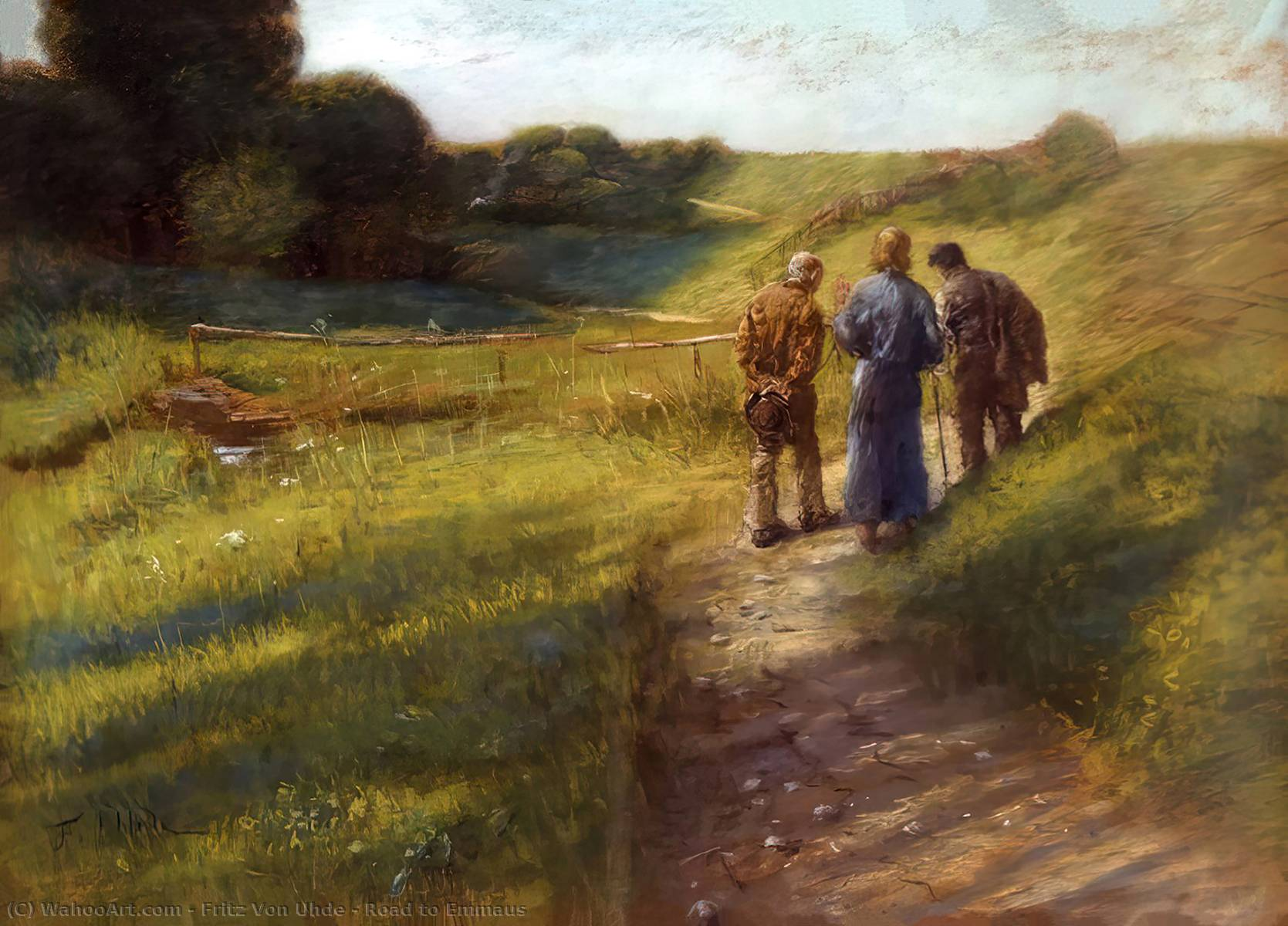 Road to Emmaus, Pastel by Fritz Von Uhde (1848-1911)