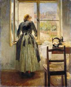 Fritz Von Uhde - Girl at a Window (sempstress at the window)