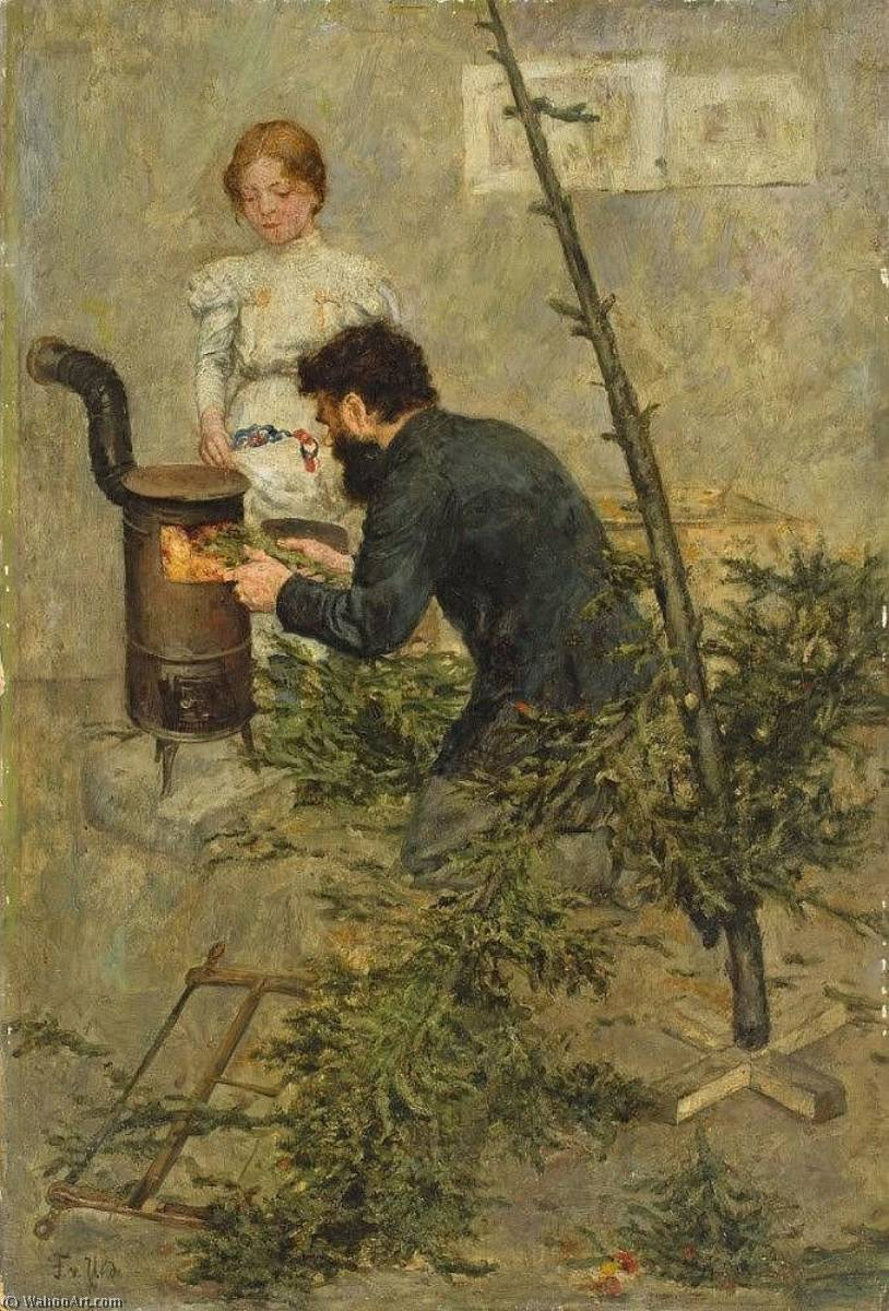 After christmas, Oil by Fritz Von Uhde (1848-1911)