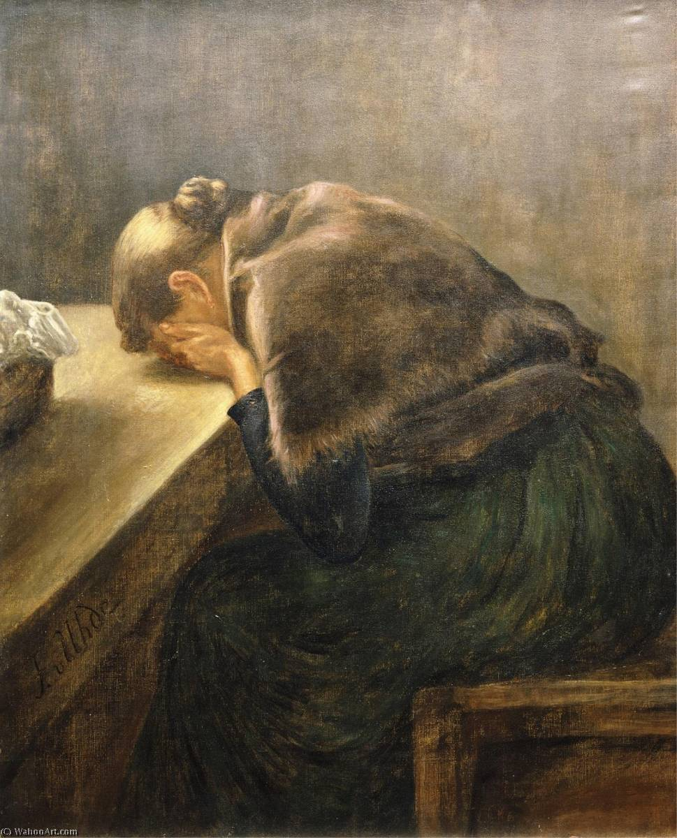 Mourning, 1895 by Fritz Von Uhde (1848-1911) | Museum Quality Reproductions | WahooArt.com
