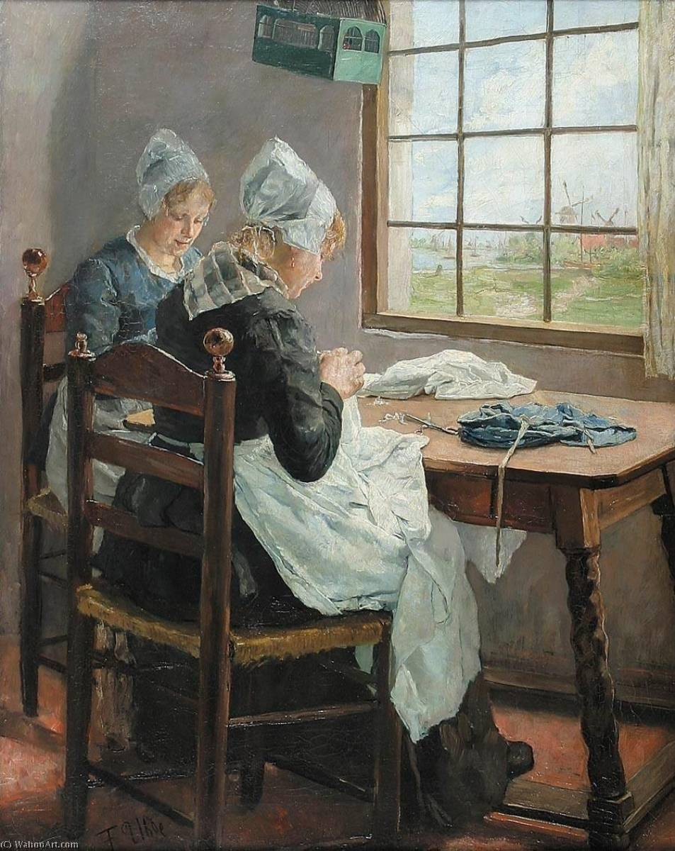 Dutch seamstressesm (Sisters in the sewing room) by Fritz Von Uhde (1848-1911) | WahooArt.com