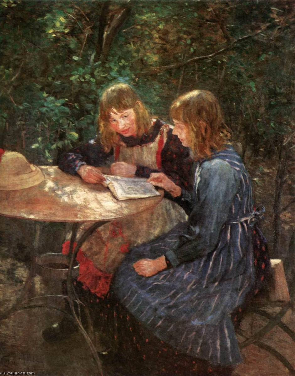 The Daughters of the Artist, Oil On Canvas by Fritz Von Uhde (1848-1911)