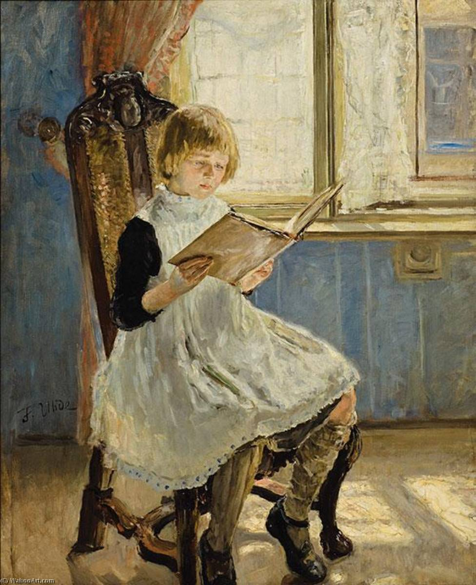 Picture Book I, Oil On Canvas by Fritz Von Uhde (1848-1911)