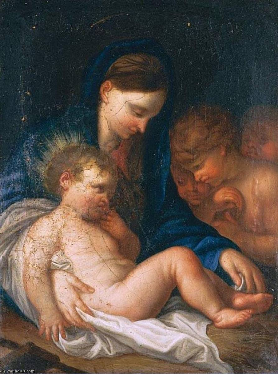 Madonna with Child and Angel, Oil On Canvas by Giambettino Cignaroli (1706-1770, Italy)