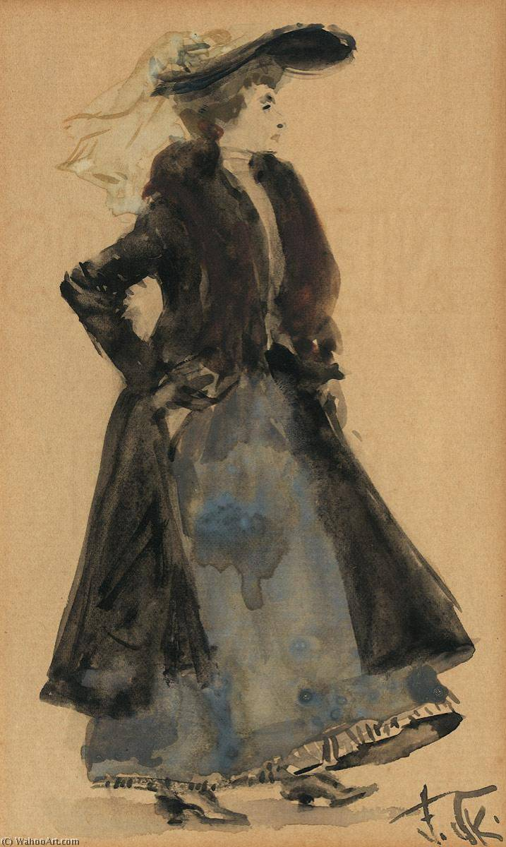Elegant Lady with Hat, Watercolour by Franz Skarbina (1849-1910)