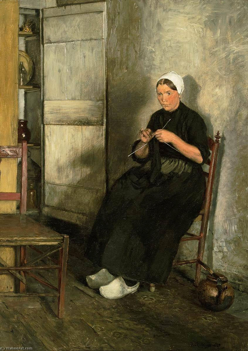 Dutch fisherman's wife knitting, Oil On Canvas by Franz Skarbina (1849-1910)
