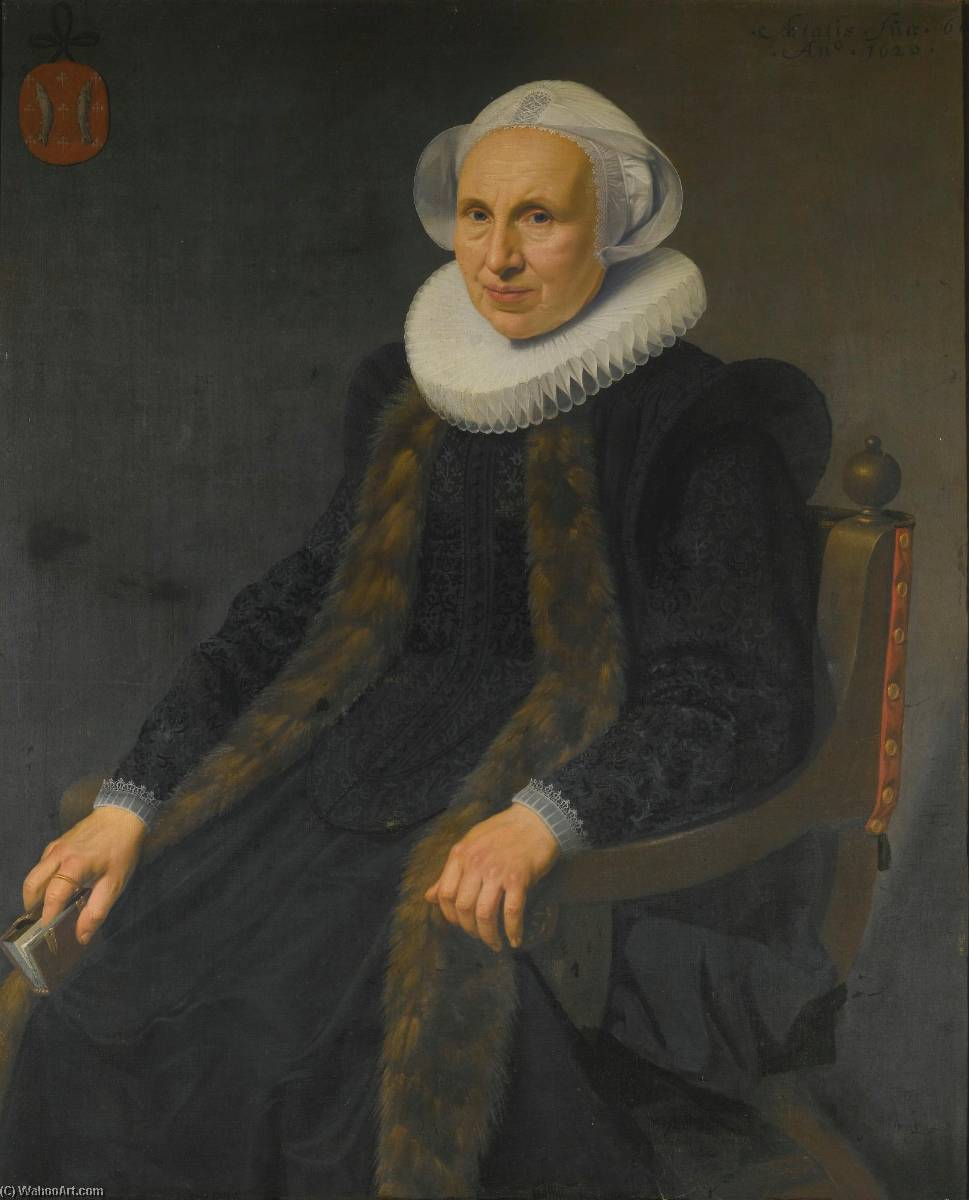 Portrait of a lady, three quarter length, seated on a chair and holding a small prayerbook by Nicolaes Eliasz Pickenoy (1588-1650, Netherlands) | Paintings Reproductions Nicolaes Eliasz Pickenoy | WahooArt.com