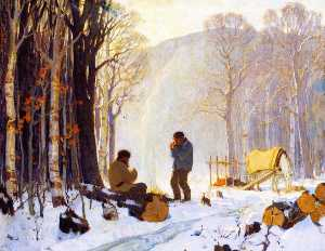 Clarence Alphonse Gagnon - Early Winter Morning in the Woods, Baie Saint Paul