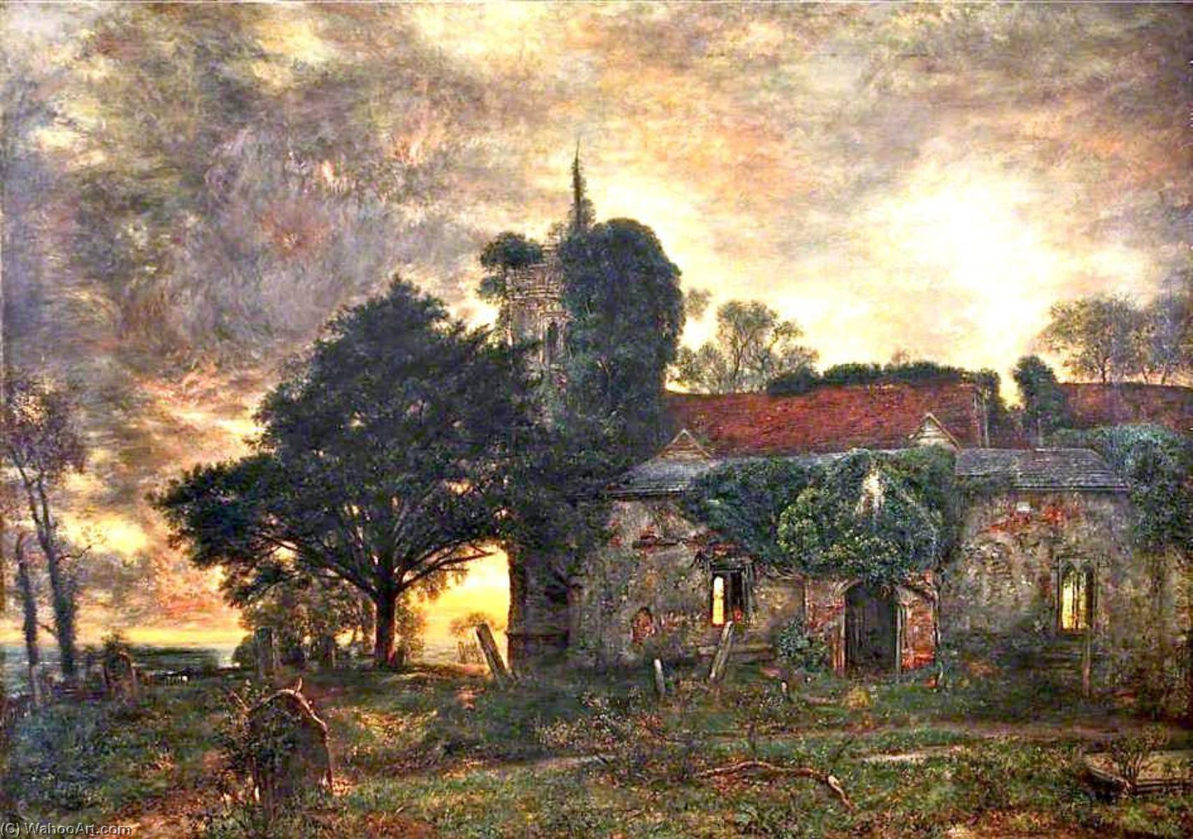 Evensong, Oil On Canvas by Henry Mark Anthony (1817-1886)
