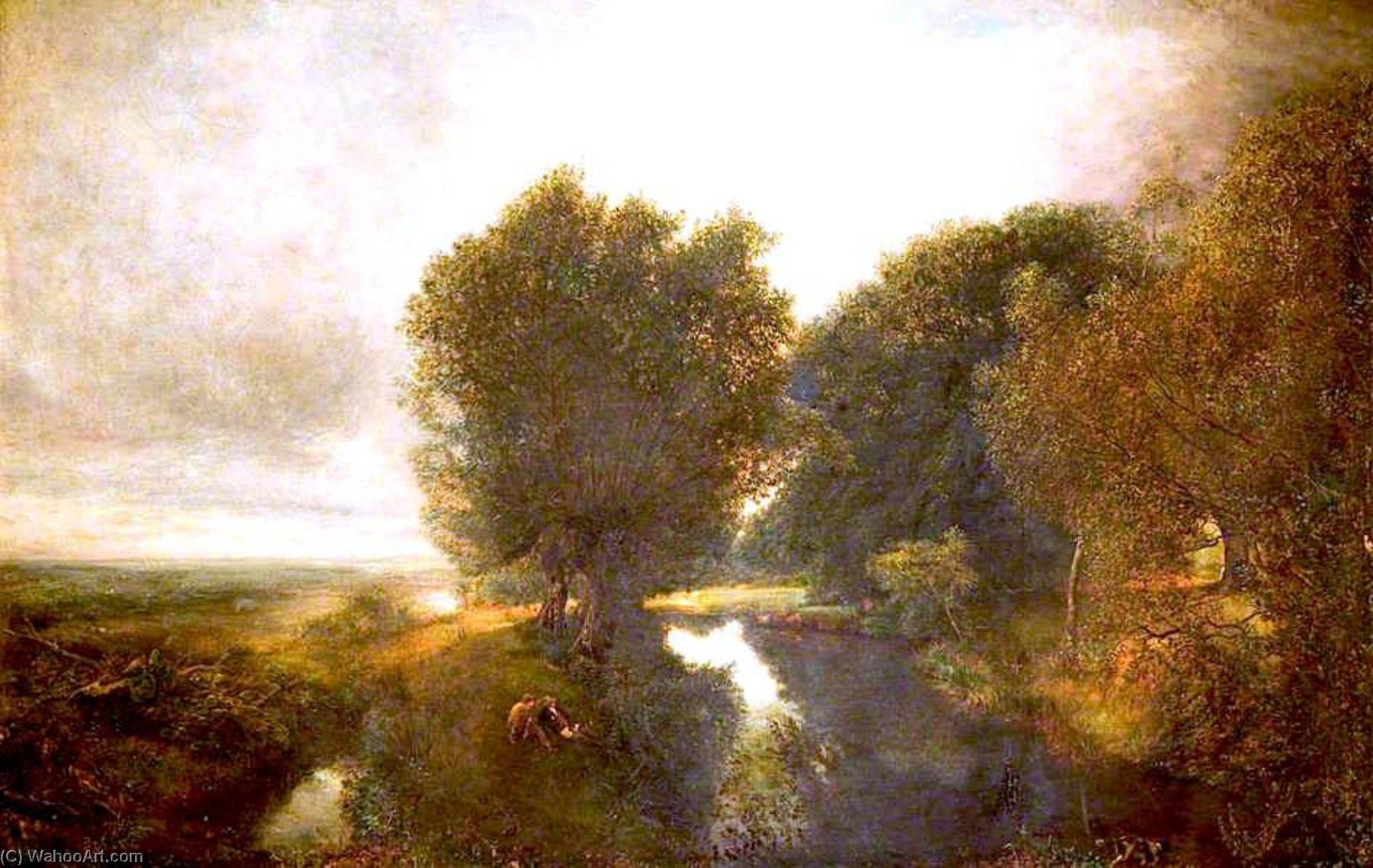 Nature's Mirror, Oil On Canvas by Henry Mark Anthony (1817-1886)