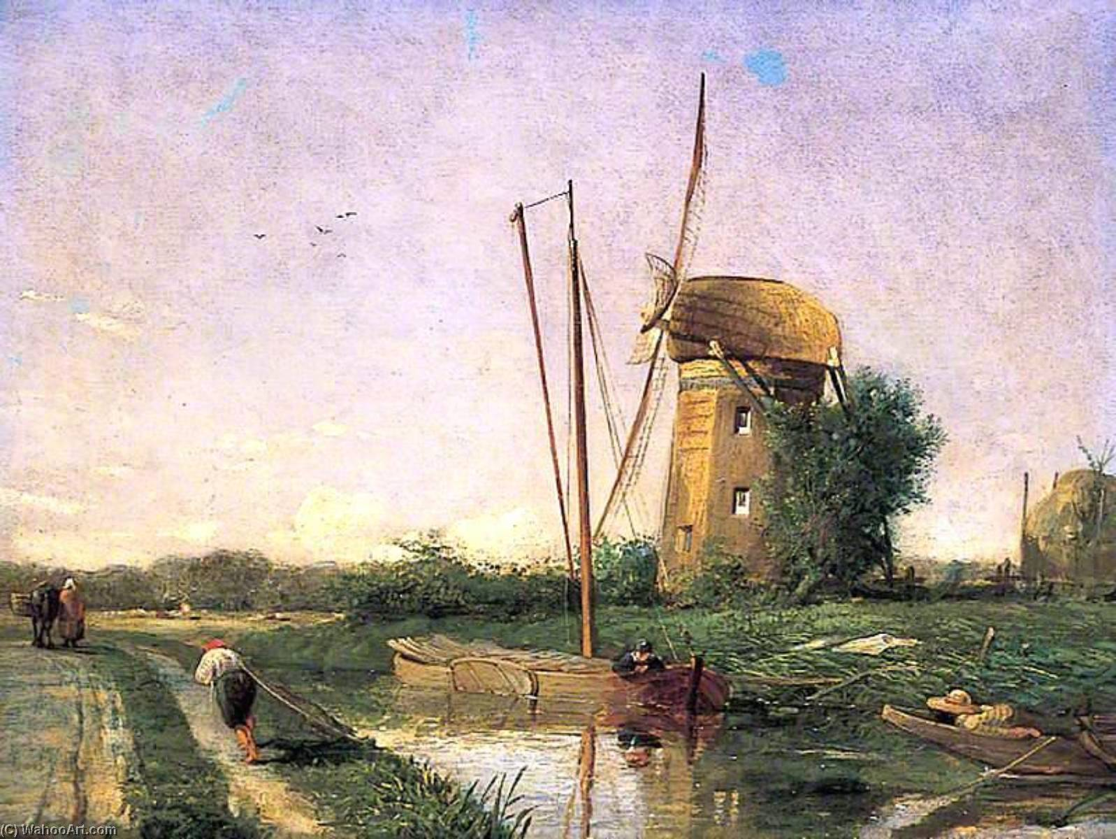 A Mill on the Hague, Oil On Canvas by Henry Mark Anthony (1817-1886)
