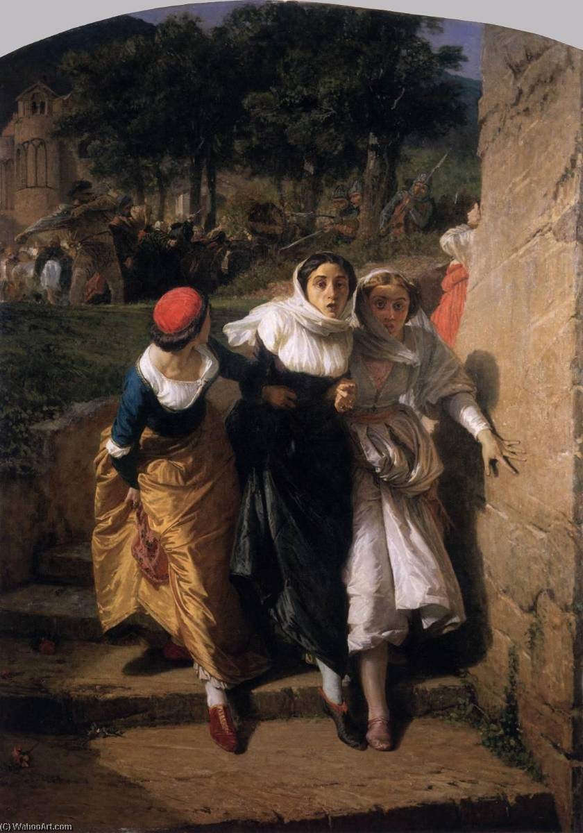 The Sicilian Vespers, 1859 by Domenico Morelli (1826-1901) | Oil Painting | WahooArt.com