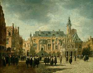 Gerrit Adriaenszoon Berckheyde - Market Square and Town Hall, Haalem